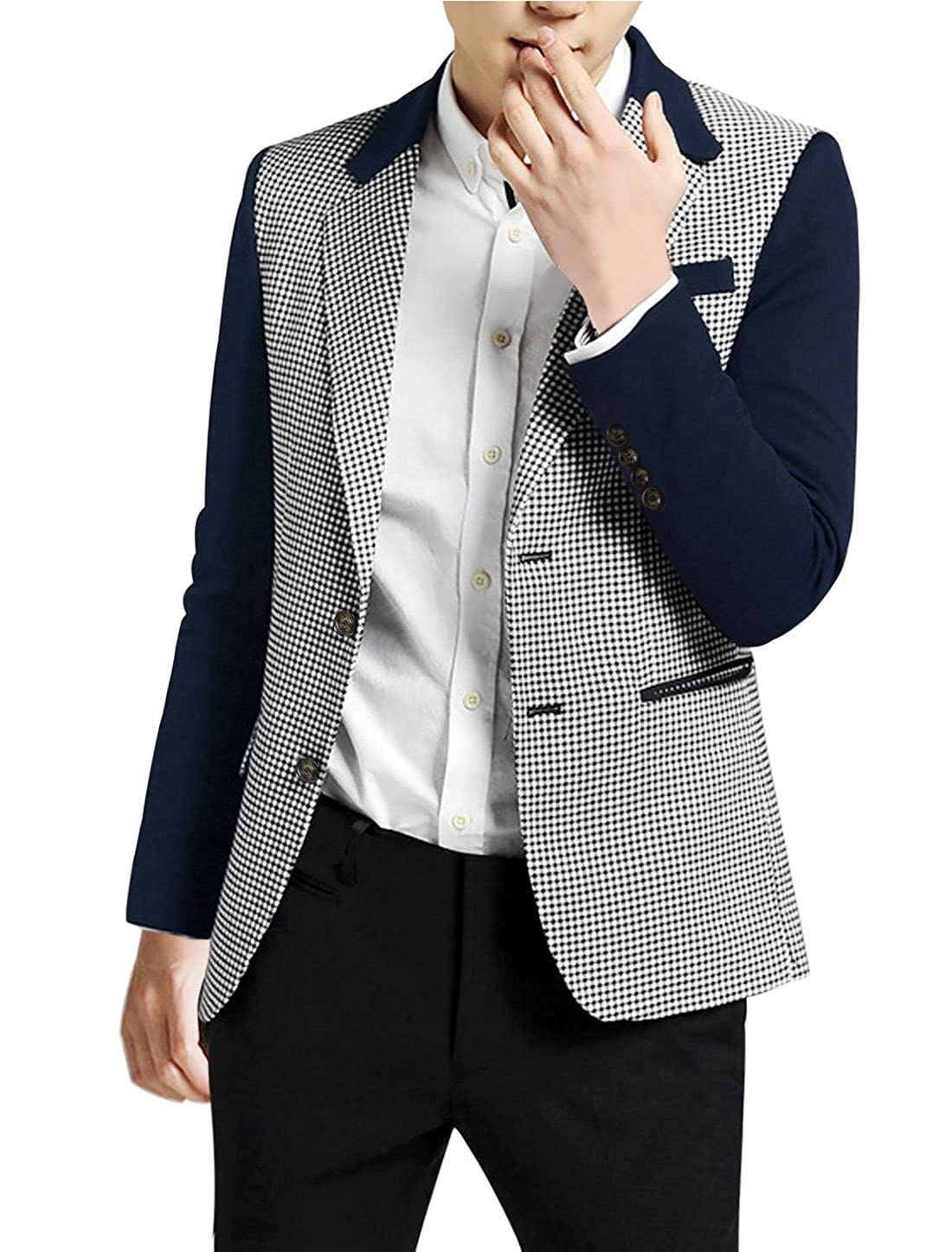 uxcell Men Houndstooth Long Sleeve Padded Shoulder Single Breasted Blazer g14082900ux0007
