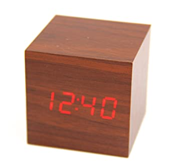 Raylinedo® última diseño Fashion madera cubo Mini palabras de madera LED Digital reloj despertador –