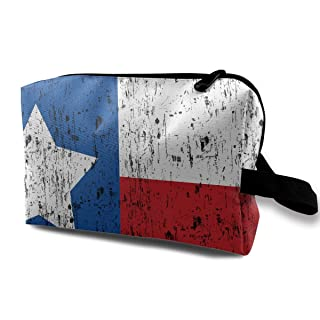 Distressed Texas Flag Portable Travel Makeup Bags Pencil Case Handbag Organizers With Zipper