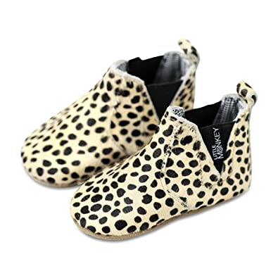 Little Monkey {Cheetah} Leather & Fabric Lined Moccasin Boots Infant Baby Newborn Boy Girls
