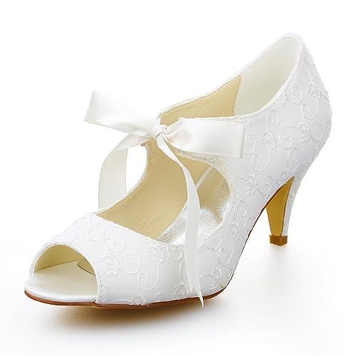 JIA JIA Womenu0027s Bridal Shoes Peep Toe Mid Heel Satin Pumps Ribbon Tie Wedding  Shoes Colour