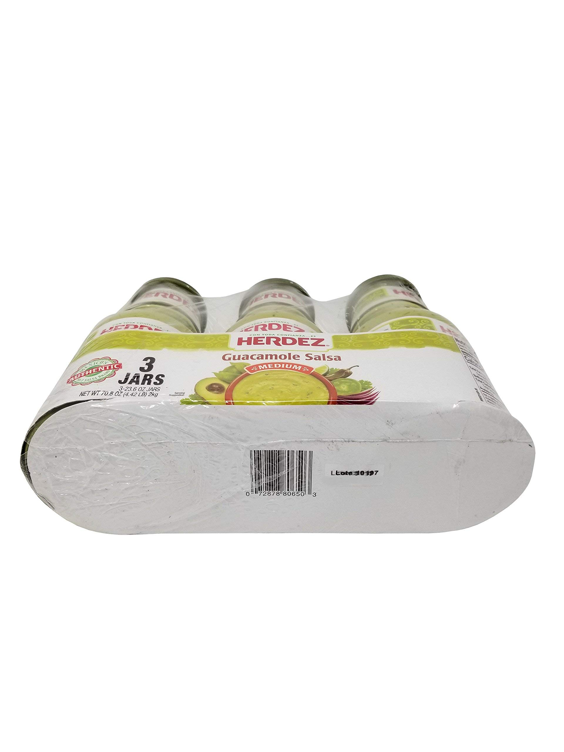 Herdez Guacamole Salsa - Medium - 3 Jars Net 4.42 LB by Herdez