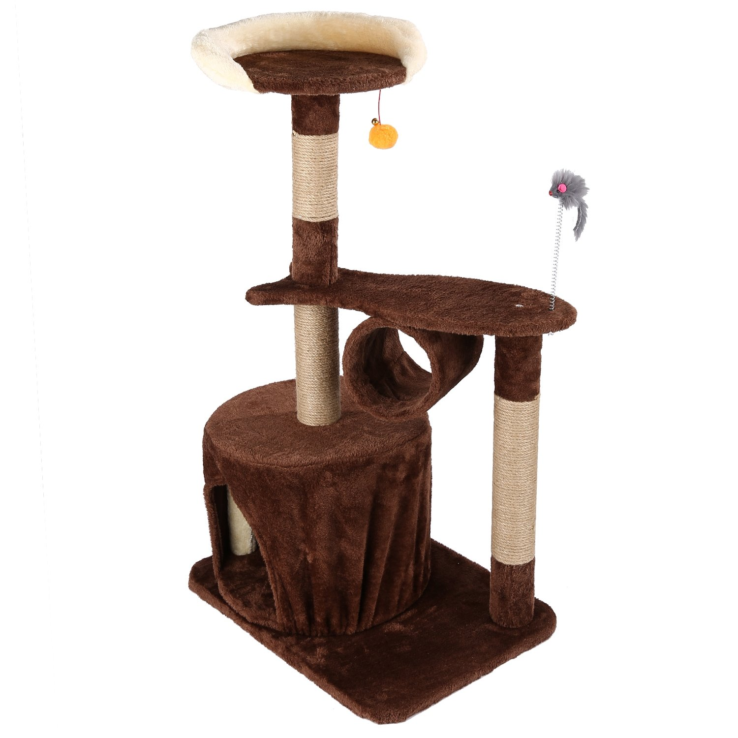 Happystore999 Pet Cat Climbing Frame Four Layers Cat Tree Scratching Wood Climbing Furniture Cat Jumping Toy for Fun M22