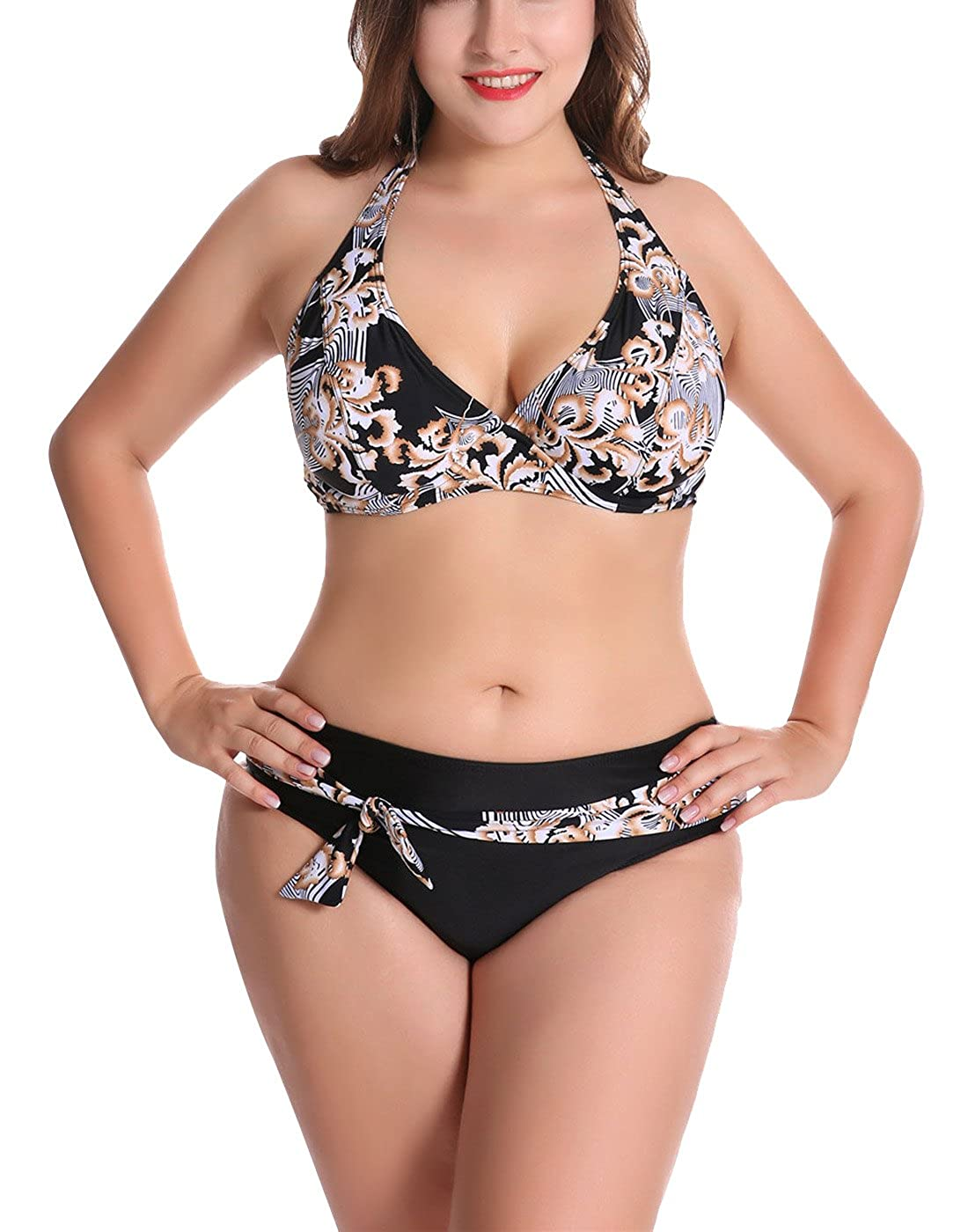 FEOYA 2PCS Costume da Bagno per Donna Swimsuit Beachwear Push Up Costume Intero Bikini Mare Piscina Taglia Grande con Disegno di Fiore 3 Colori