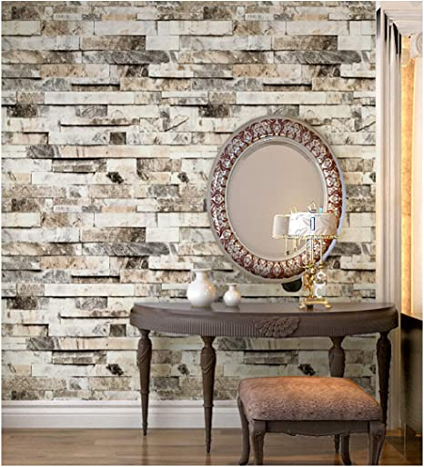 Haokhome 91301 Faux 3d Brick Wallpaper Textured Brick Wallpaper Roll Beigegreybrown 208 X 33ft Brick Wall Paper For Home Room Decoration