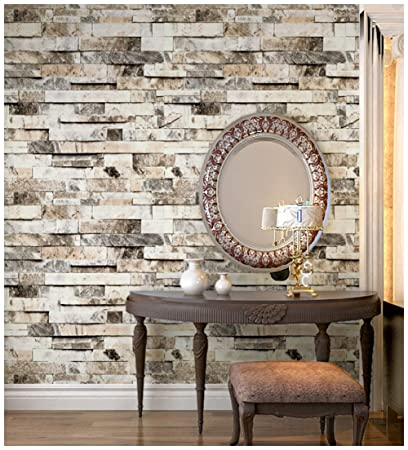 Haokhome 91301 Faux 3d Brick Wallpaper Textured Brick Wallpaper Roll Beige Grey Brown 20 8 X 33ft Brick Wall Paper For Home Room Decoration