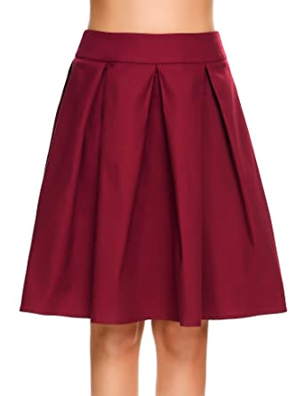 62789f2958 Shine Women Pleated Vintage High Waisted A line Skirts Skater Full Midi  Skirt Wine Red at Amazon Women's Clothing store: