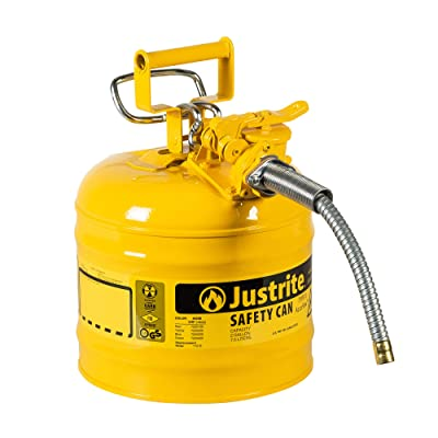 """Justrite 7220220 AccuFlow 2 Gallon, .3 Size, 9.50"""" OD x 13.25"""" H Galvanized Steel Type II Yellow Safety Can With 5/8"""" Flexible Spout: Hazardous Storage Cans: Industrial & Scientific"""