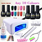 (Pick Any 3 Colors) Nail Art Polish Top Base 36W UV Lamp Gel Manicure Kit Soak Off Cleanser Plus Files Removers Buffer Nipper Push Wipes Stipes Roll Gift Set DIY by FairyGlo