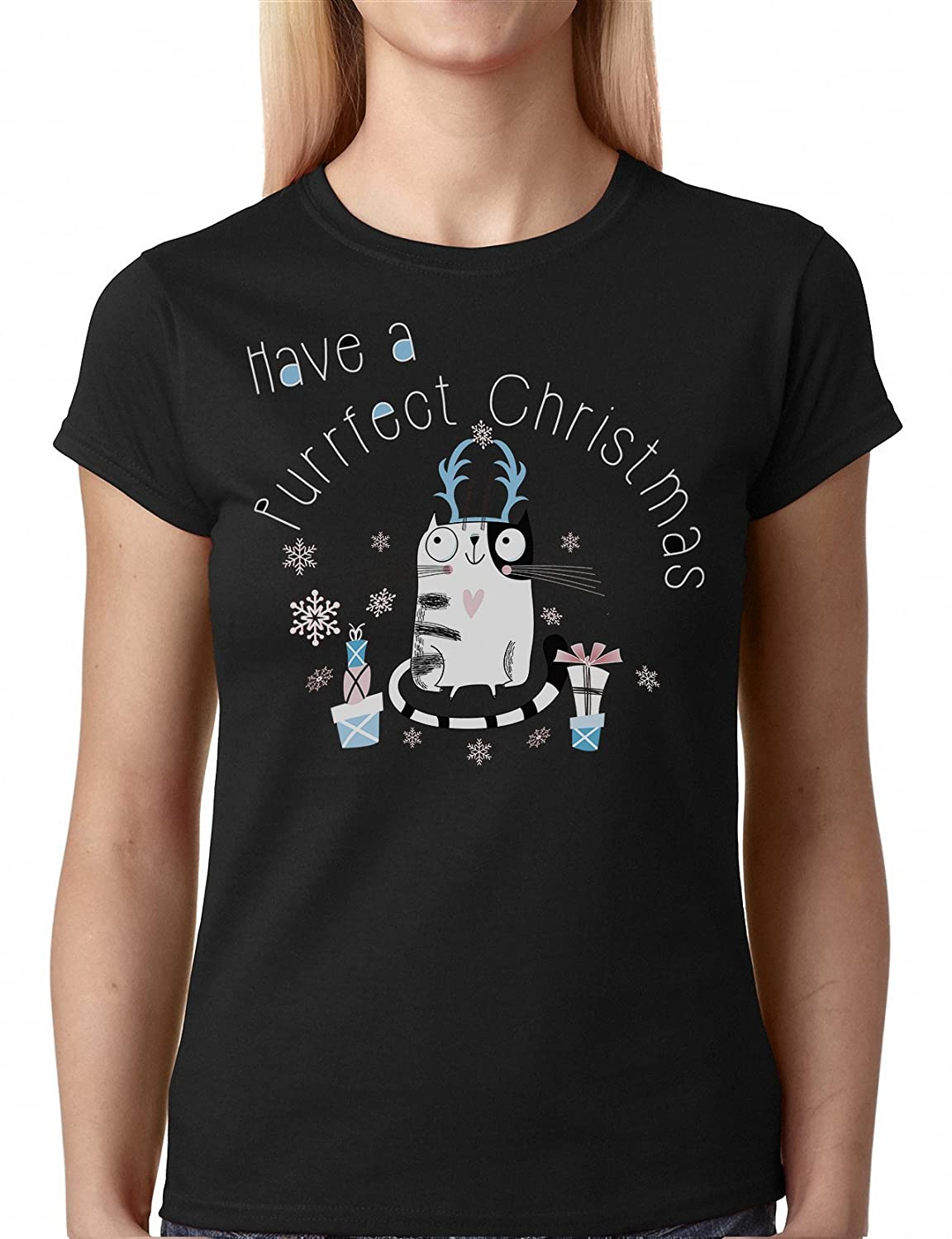 4329a13c9f Have a Purrfect Christmas Cat Ladies Christmas T-Shirt: Amazon.co.uk:  Clothing