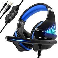 Beexcellent Gaming für PS4 PC Xbox One, LED Licht Bass Sourround Comfortbale Kopfhörer mit Mikrofon für Mac NS PSP Tablet blau