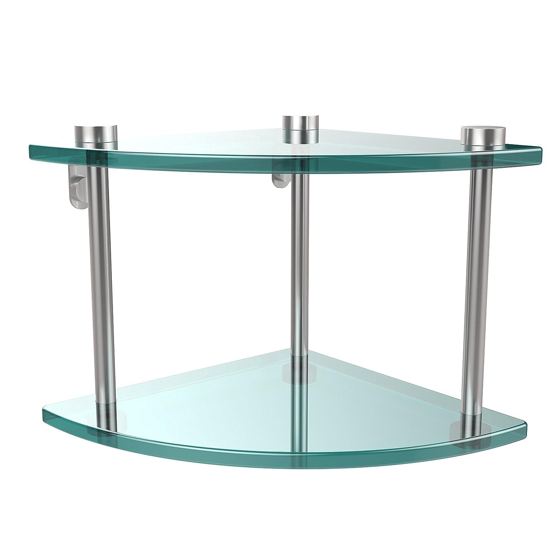 Allied Brass NS-3-SCH Two Tier Corner Glass Shelf Satin Chrome
