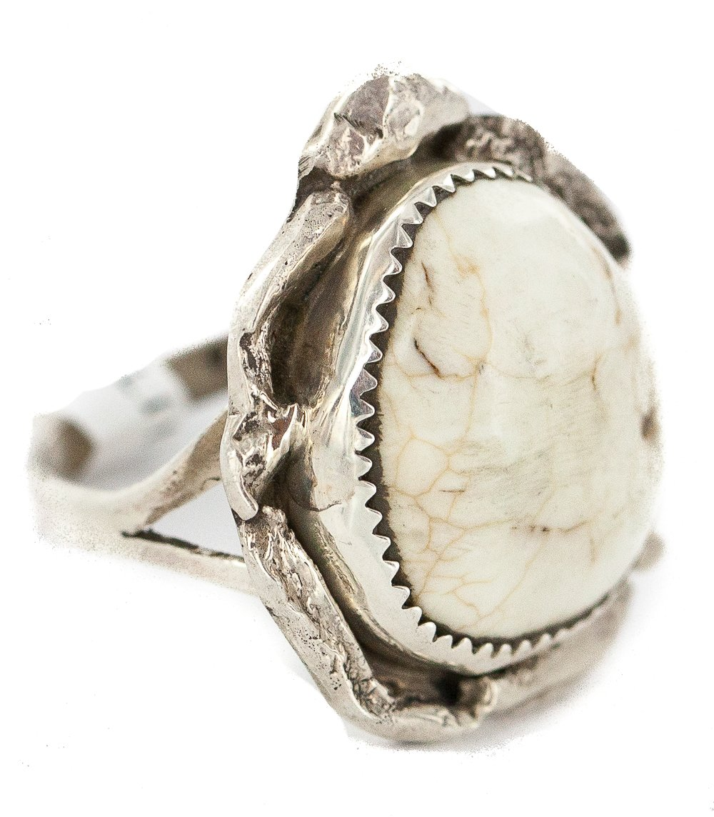 Large $430 Retail Tag Handmade Authentic Navajo Silver Made by Robert Little Natural White Buffalo Turquoise Native American Ring