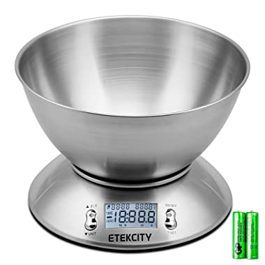 Etekcity Digital Kitchen Food Multifunction Removable Bowl 2.15L Liquid Volume Room Temperature and Timer, 11lb 5kg, Backlight Scales, 8.4 8.4 3.6 inch, Silver