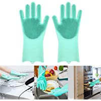 "Adtala Dish Washing Cleaning Sponge Gloves Reusable Silicone Brush Heat Resistant Scrubber Gloves for Dish Washing,Kitchen Bathroom Cleaning,Pet Bathing,Car Washing1 Pair(13.6"" Large) Multi Color"