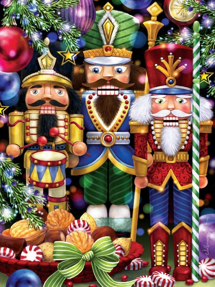 Three Nutcrackers Christmas Jigsaw Puzzle 1000 Piece,Wooden Puzzles Game,Family Puzzles Educational Games Wall Hanging Decor