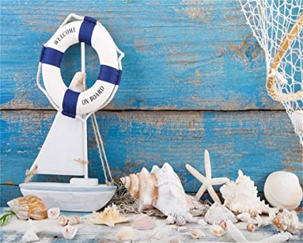 94564a4aa6 AOFOTO 5x4ft Life Buoy on Wooden Backdrops Nautical Photography Background  Marine Style Boat Starfish Conch Shell