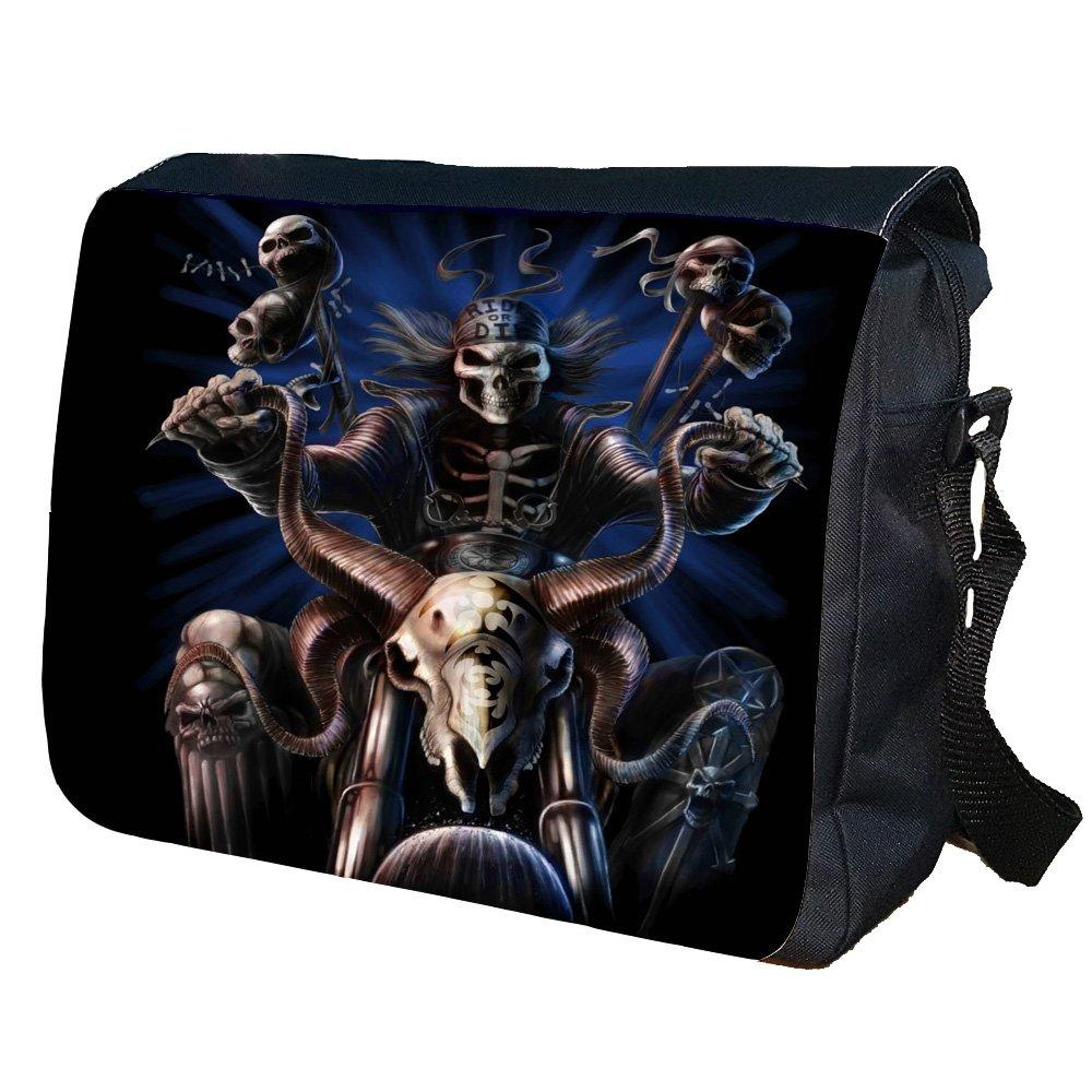 Skull Biker Shoulder Messenger Personalised Bag