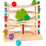 Kugelbahn Waldtiere, Spielzeug aus Holz für Kleinkinder
