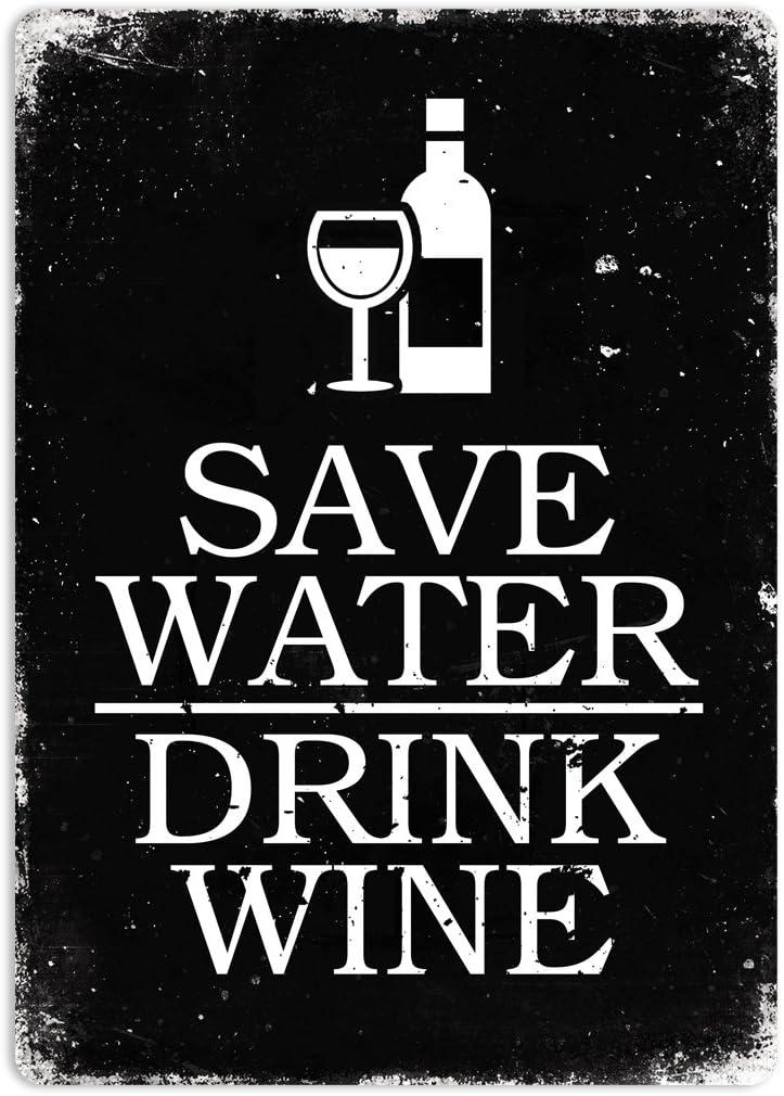 Boire du vin Cirrus /Économisez leau Noir / /Plaque Murale en m/étal Art Inspirants