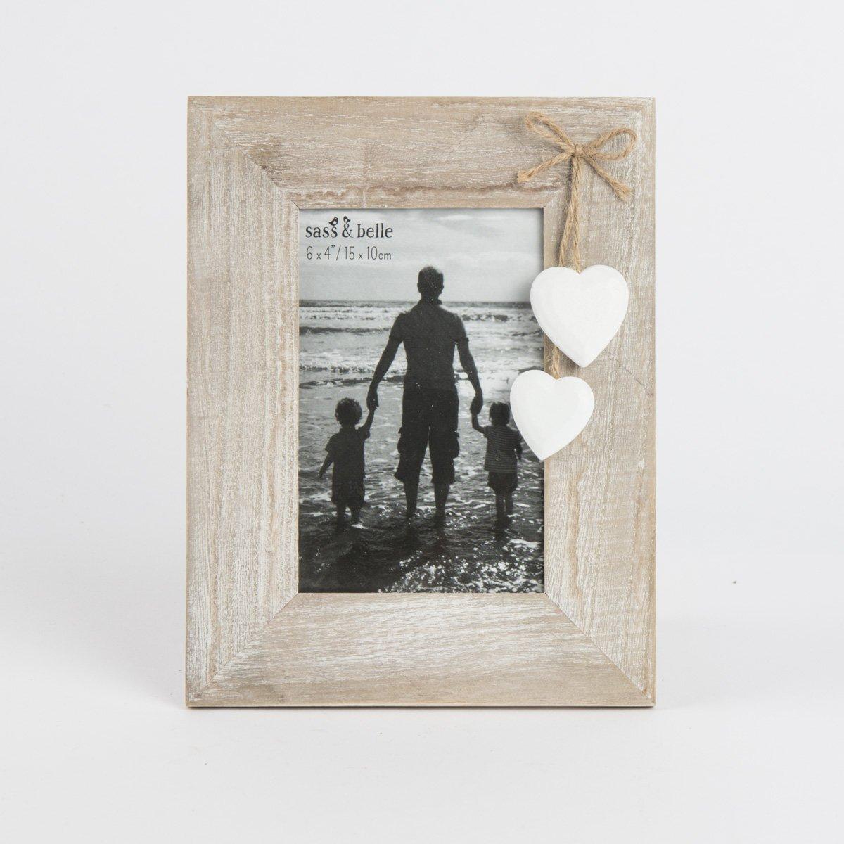 /Shabby chic Bois naturel avec c/œurs blancs Cadre photo au format portrait sur pied