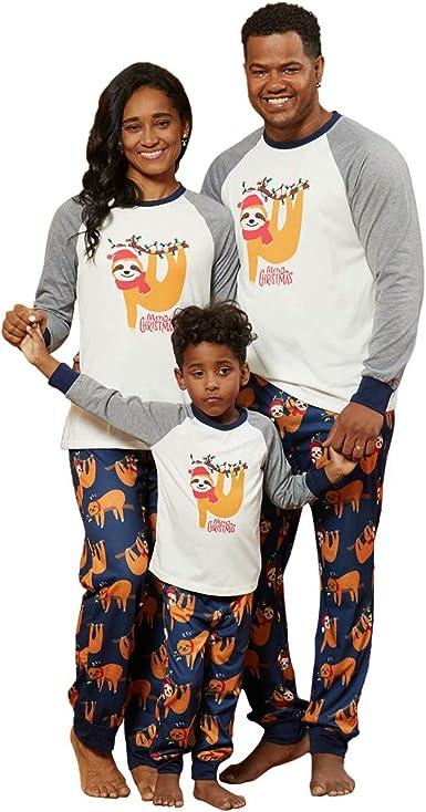 Yaffi Conjunto de pijama a juego con diseño de perezoso de Navidad, estampado de dos piezas, ropa de dormir para mamá y papá niños, pijama para estar ...