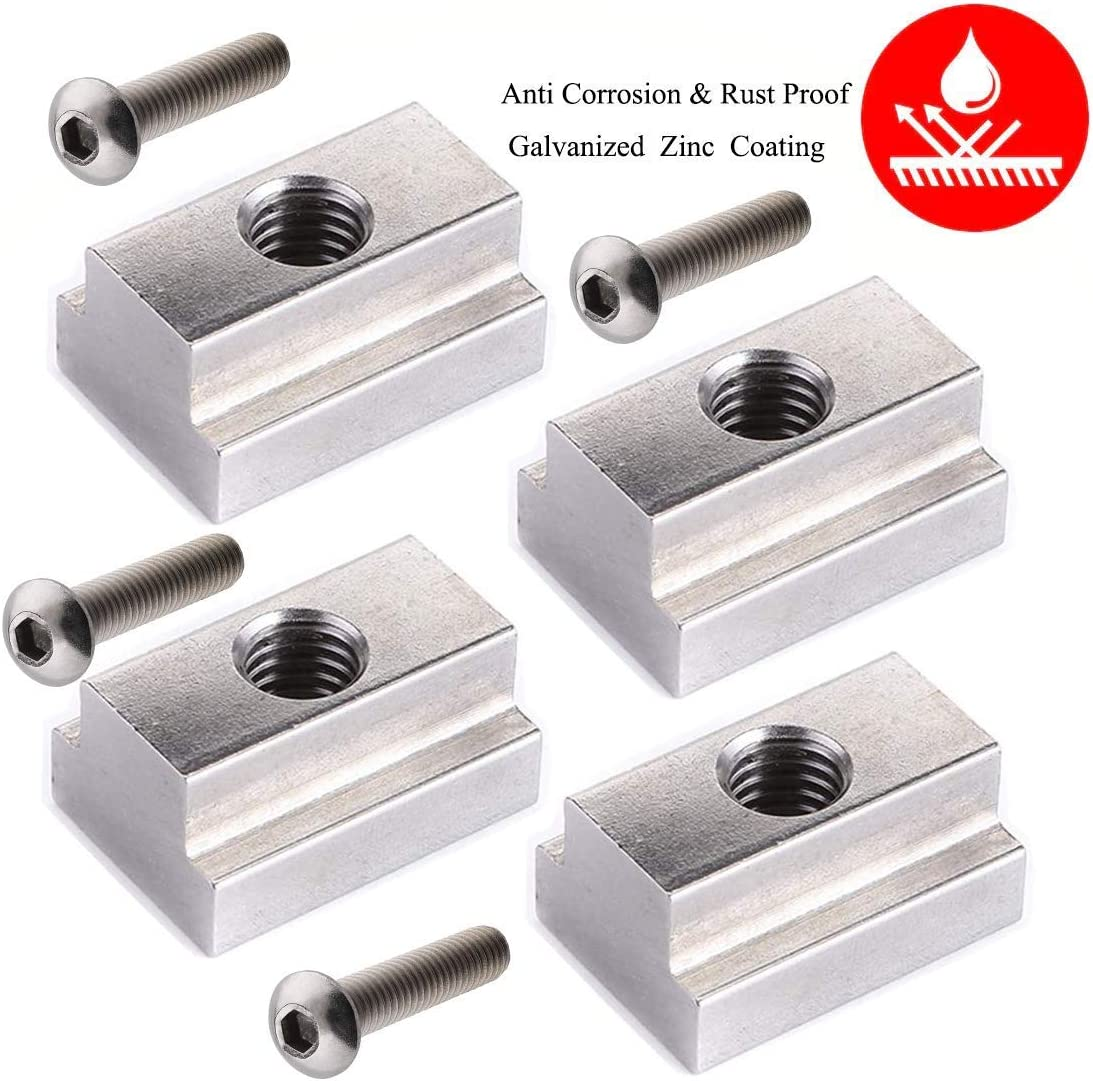 LE KAPMOZ T Slot Nuts for Toyota Tacoma Bed Rails Cleats Bed Rack Rail Accessories for Tunda Pickup Truck Deck Bike Mount W//Stainless Button Socket Cap Screw 4 Packs