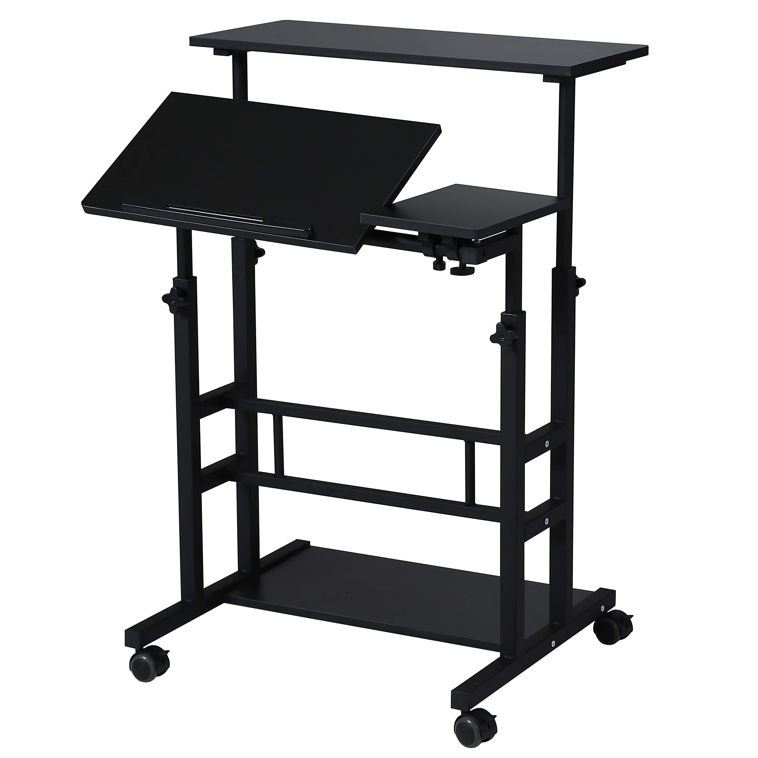 UNICOO- Height Adjustable Sit Stand Workstation, Mobile Standing Desk, Rolling Presentation Cart, Stand Up Computer Desk with Dual Surface for Home Office (U101-Black) by UNICOO