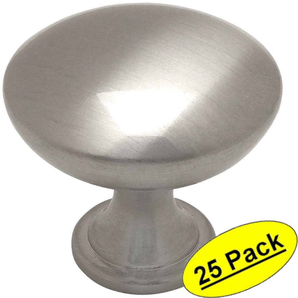 Cosmas 5305SN Satin Nickel Traditional Round Solid Cabinet Hardware Knob - 1-1/4'' Diameter - 25 Pack