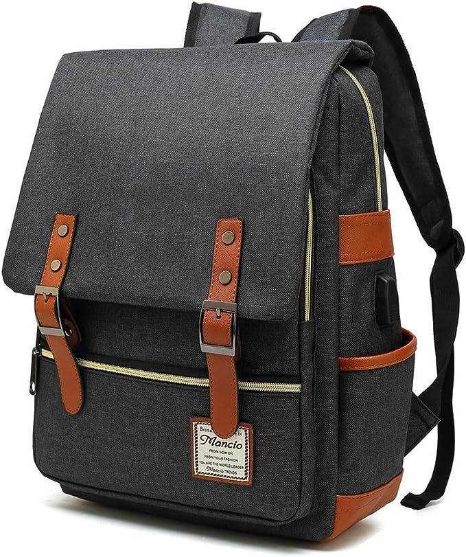 Business Laptop Backpack,Mochilas vintage Bolso para port/átil de cuero para hombre Mochilas unisex Bolsos casuales de cuero Mochila de hombro para la universidad Escuela Viajes Senderismo Unisex