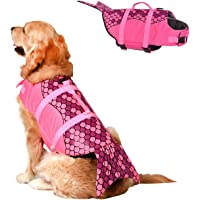 Doglay Mermaid Dog Life Jacket, Dog Life Vest for Swimming Adjustable Pet Life Preserver with Rescue Handle for Small…