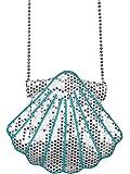 Muschel Handtasche zum Meerjungfrau Kostüm - Silberne Pailletten Umhängetasche