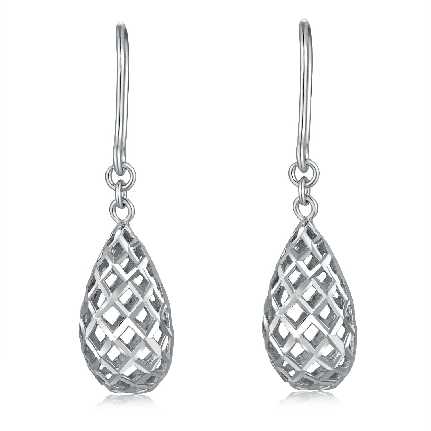 Amazon MaBelle 14K Italian White Gold 3D Puffed Filigree