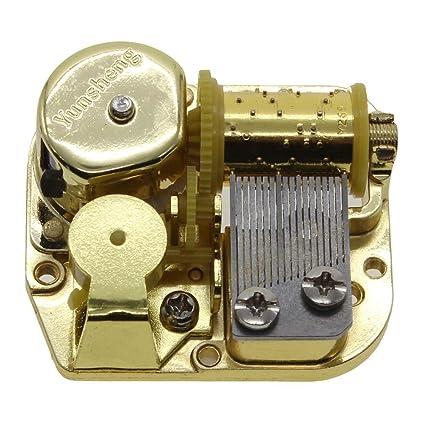 Chapado en oro de MMRM Wind Up DIY Mecanismo de movimiento musical Caja de música,