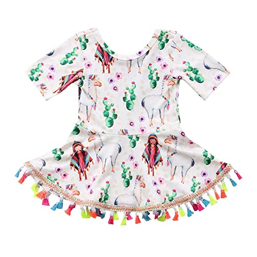 b9df1fc22 HESHENG Toddler Baby Kids Summer Clothes Short Sleeve Pattern Dress Tassel  Sundress Kids Outfit (Multi