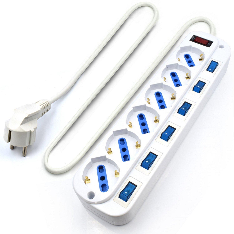 Ewent EW3932-5M Regleta 6 Enchufes con 6 Interruptores Iluminados, 3500 W, 250 V, Blanco, Longitud Cable 5,0 Metros: Amazon.es: Bricolaje y herramientas