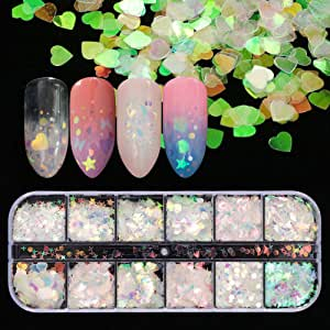 12 Shaped Holographic Nail Sequins Iridescent Mermaid Flakes Colorful Glitter Sticker Manicure Nail Art Design Make Up DIY Decals Decoration