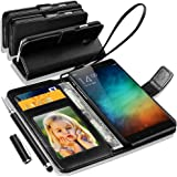 Xiaomi Redmi Note 3 Rich Leather Stand Wallet Flip Case Cover Book Pouch / Quality Slip Pouch / Soft Phone Bag (Specially Manufactured - Premium Quality) Antique Leather Case With 2 IN 1 Touch Stylus Pen Black