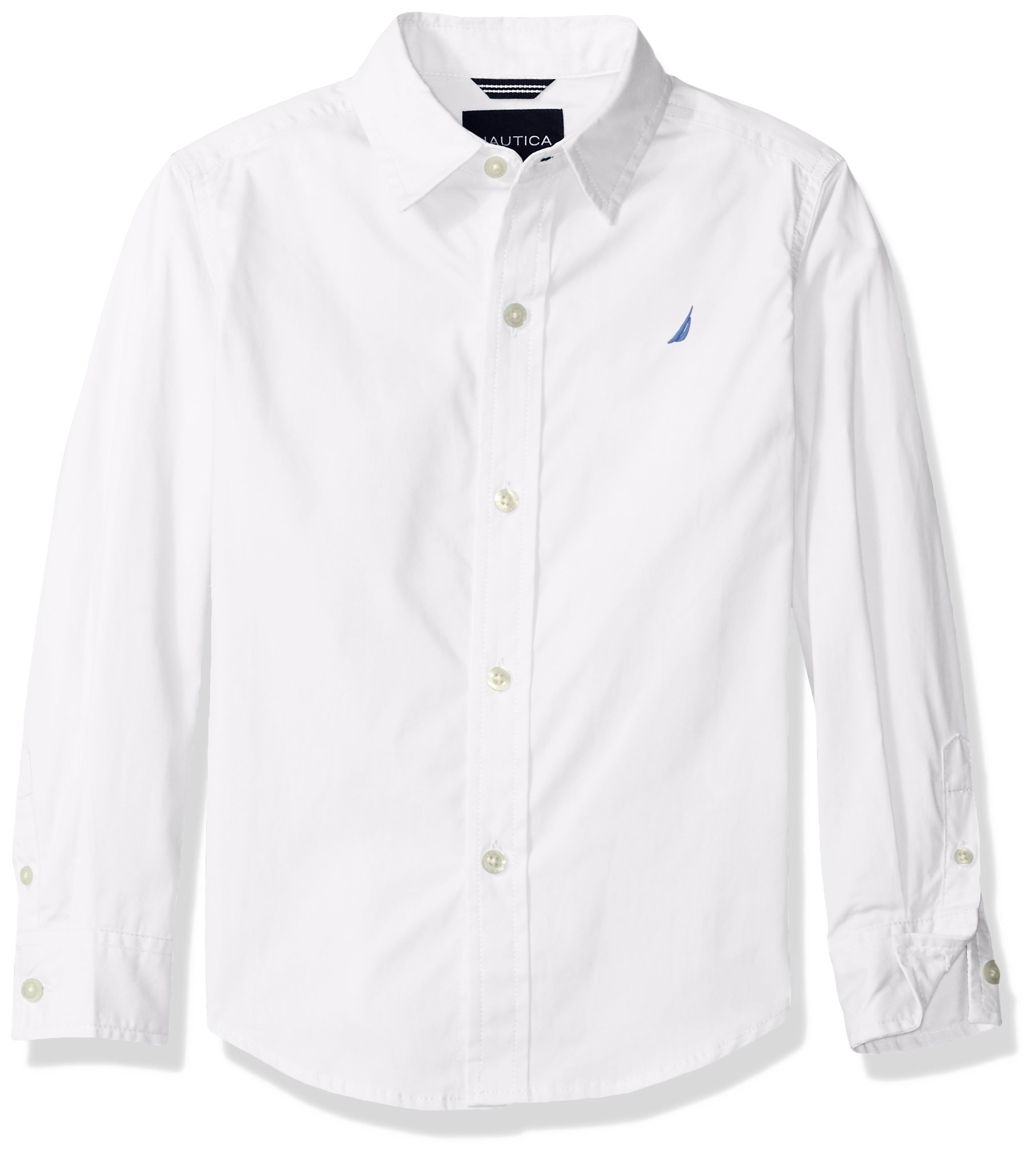 Nautica Little Boys' Long Sleeve Solid Woven Shirt, White, Extra Large (7X)