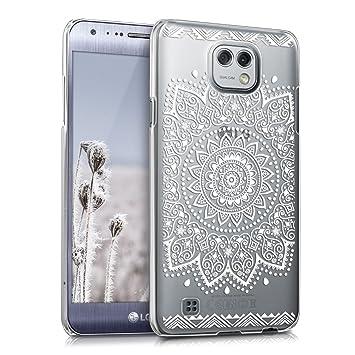kwmobile Funda para LG X CAM - Carcasa de plástico para móvil - Protector Trasero en Blanco/Transparente