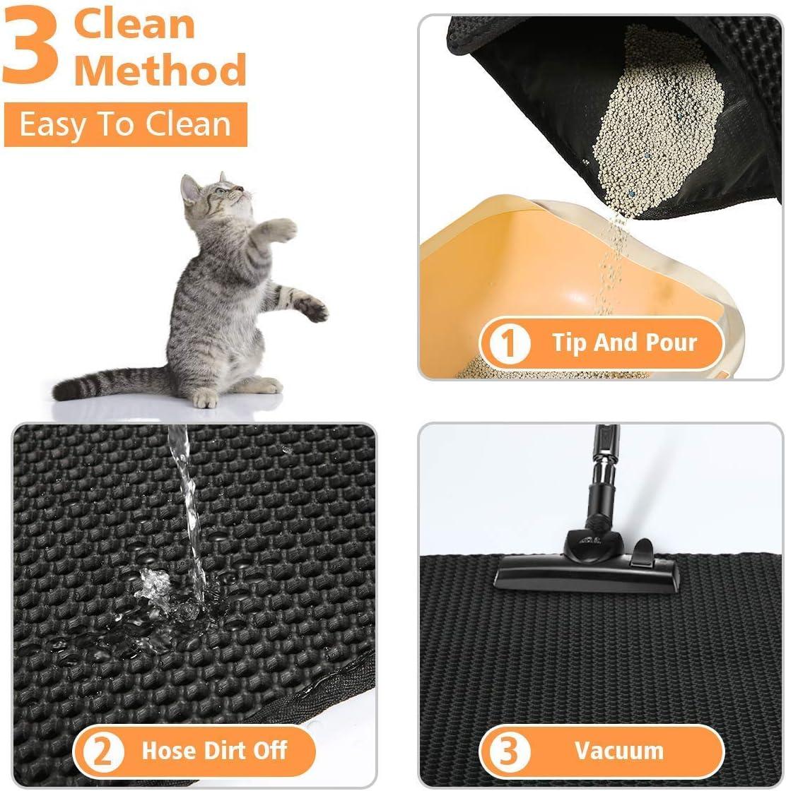 Litter Tray Mat Waterproof Double Layer Honeycomb Design Washable Litter Mats for Pets Cats Black, 40 * 50cm Cat Litter Mat