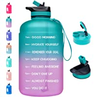 $20 » Venture Pal Large 1 Gallon Motivational Water Bottle with 2 Lids (Chug and Straw), Leakproof…