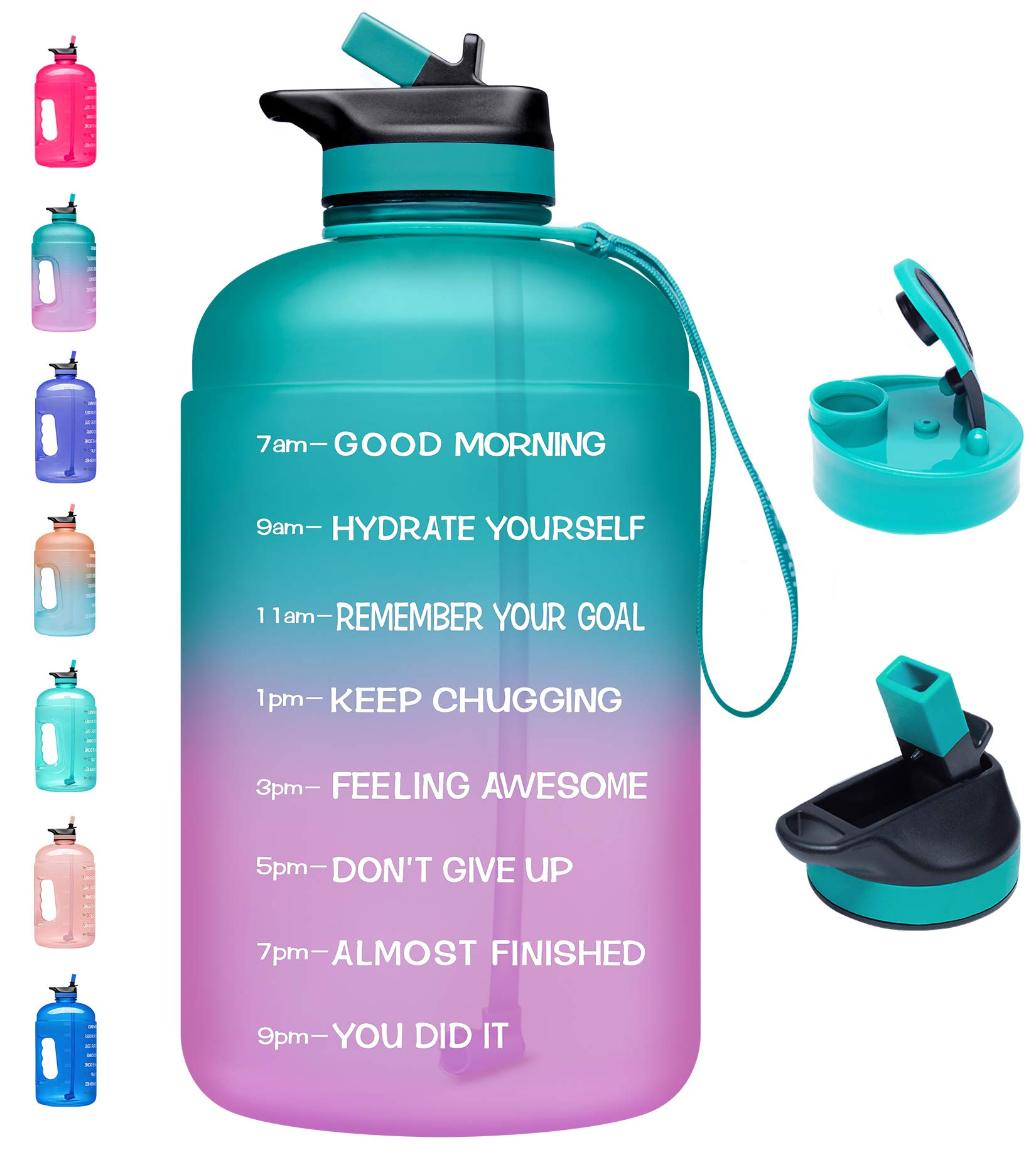 Deep Blue SANKUU Large 1 Gallon//128oz Gallon Water Bottle Motivational with Time Marker /& Straw Leakproof Water Jug Ensure You Drink Daily Water Throughout The Fitness Day
