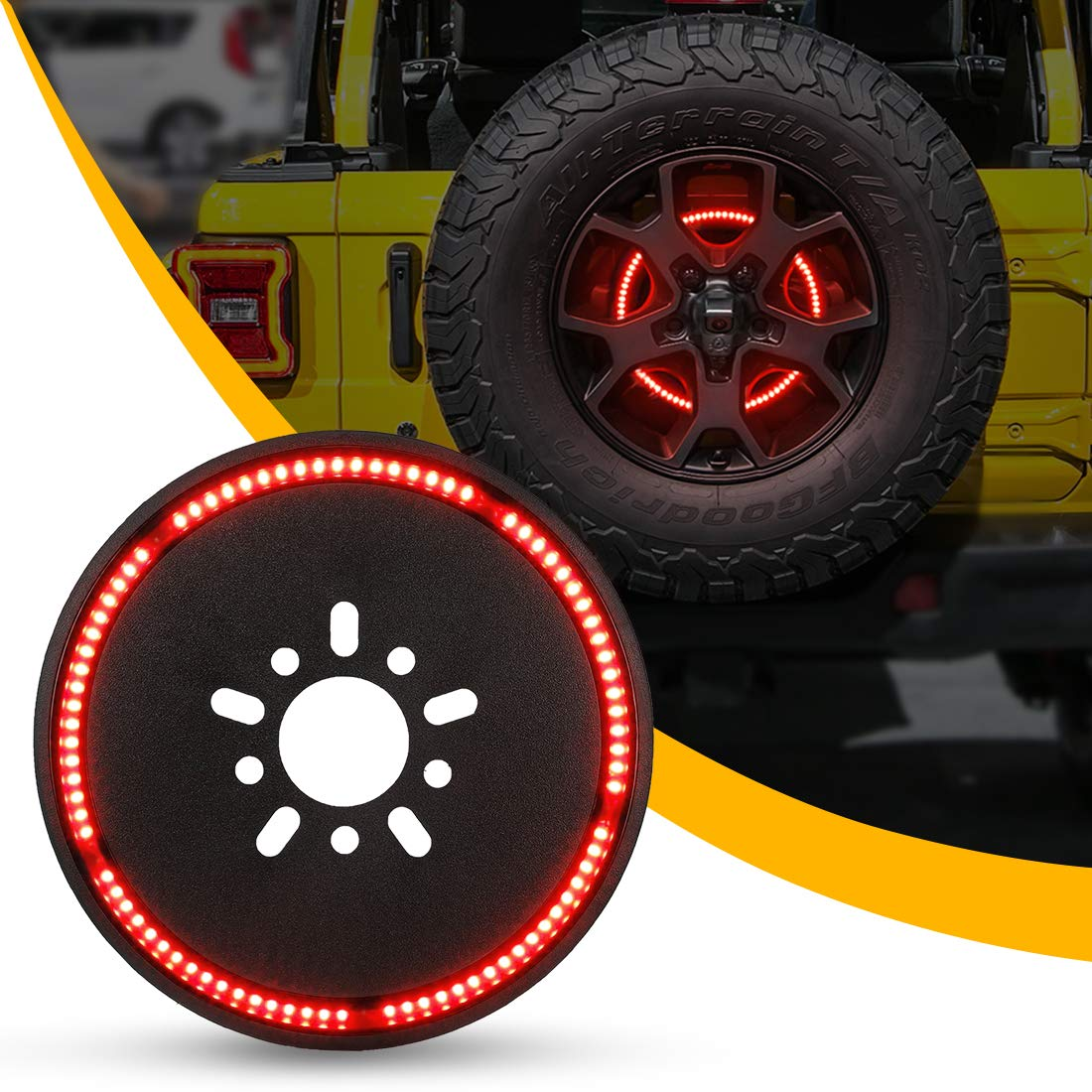 Spare Tire Brake Light Wheel Light 3rd Third Brake Light for 2018 2019 Jeep Wrangler JL JLU with Back Up Camera