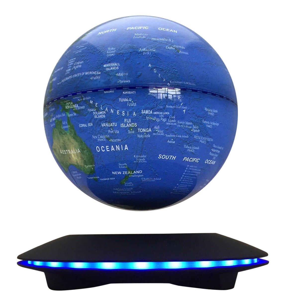 woodlev Maglev Magnetic Levitation Levitron Floating Rotating Wireless Transmission Touch Control Three Gears 6'' Blue Globe Black Platform LED Adjustment Home Decor Upgraded Version