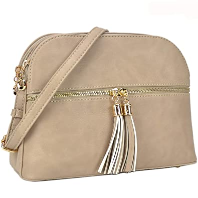 3fff147e2af Image Unavailable. Image not available for. Color  Women Lightweight  Crossbody Shoulder Bag Medium Compartment Purse with Tassel Brick