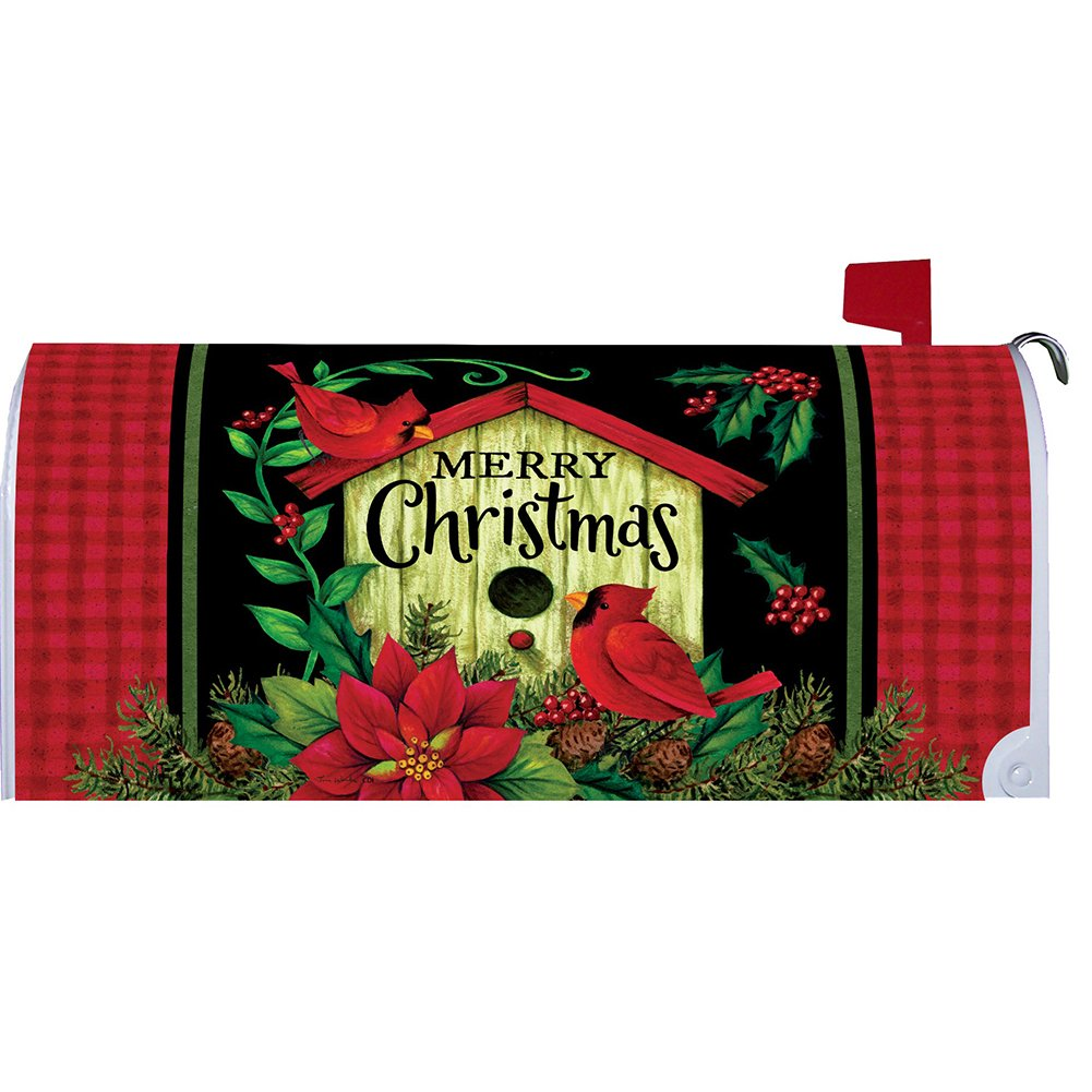 Christmas Birdhouse Mailbox Makover Cover - Vinyl witn Magnetic Strips for Steel Standard Rural Mailbox - Copyright, Licensed and Trademarked by Custom Decor Inc.