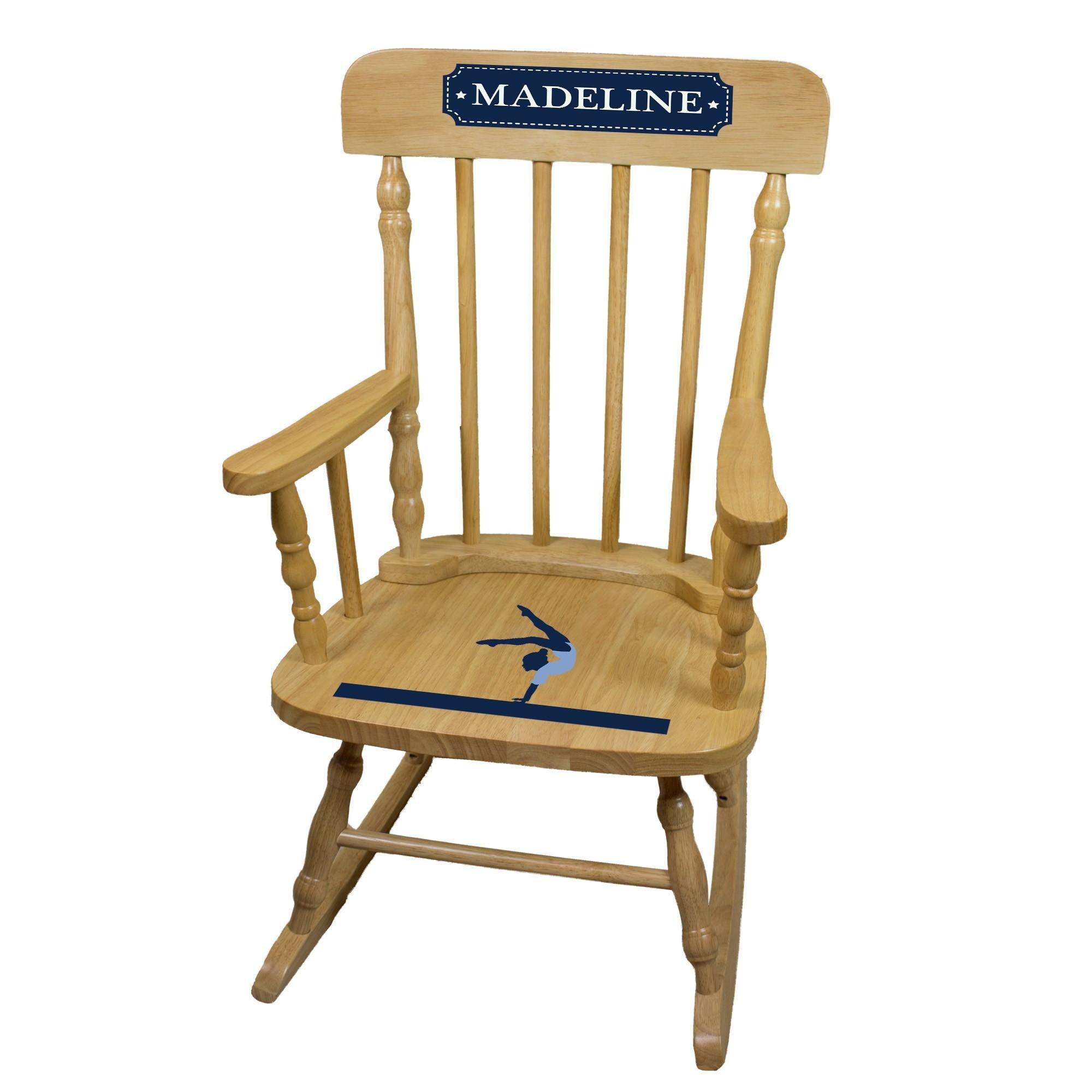 MyBambino Personalized Gymnastics Natural Wooden Childrens Rocking Chair