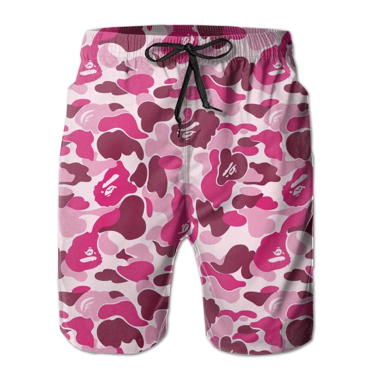 92f18d5fa4 Amazon.com: Partrest Pink Bape Camo Men's Summer Casual Shorts Beachwear  Sports Swimming Short Trunks Quick Dry Swim Trunks: Clothing