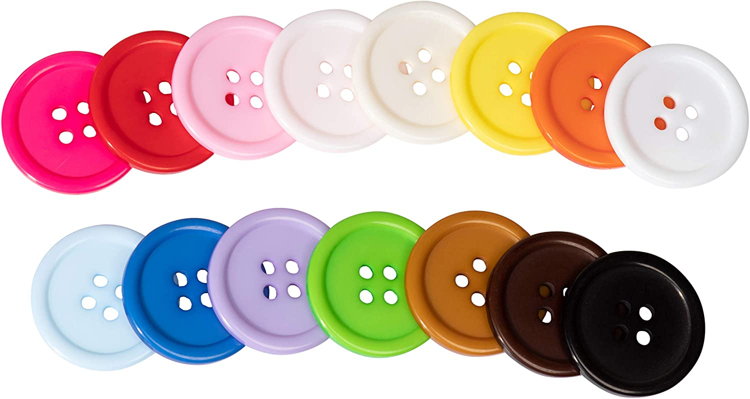 Resin Buttons for Crafts 15 Colors 4 Holes, 105 Pieces